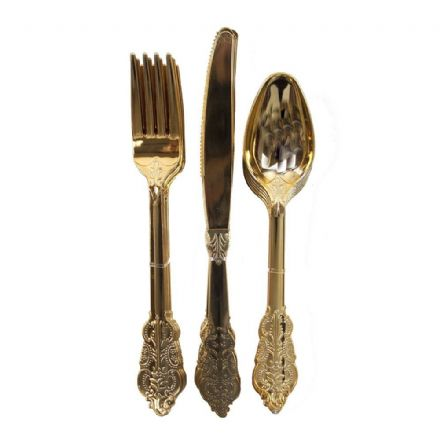 Gold Disposable Cutlery Set - pack of 18